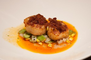 Seared scallops at Circa 59, the Riviera Resort and Spa.